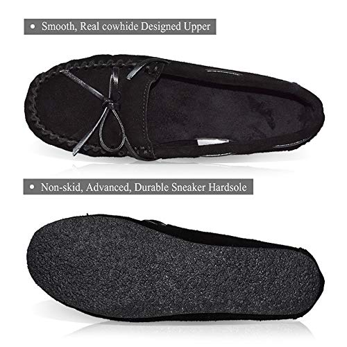 Loafer Girl Real Outdoor Casual Moccasins Women's Leather LA Black Shoes Driving PLAGE 65x40wT