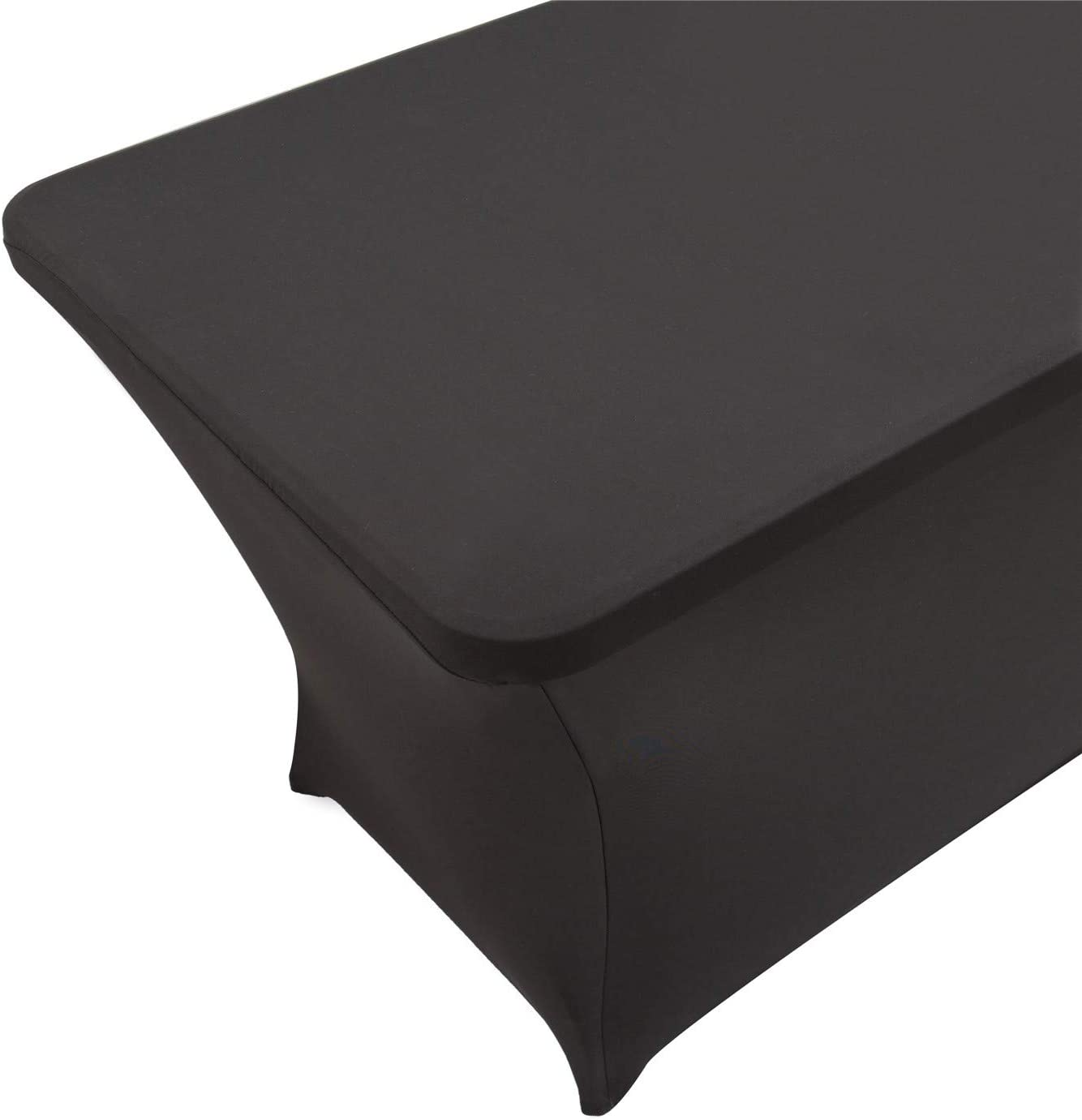 2 Pack 4ft Rectangle Black Cocktail Tablecloth with Stretch Spandex Fitted Table Cover for Bar Wedding Cocktail Massage Kitchen Table