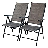 PatioPost Set of 2 Folding Adjustable Sling Back Chairs with 7 Stalls Indoor Outdoor Reclining Lounge Chairs
