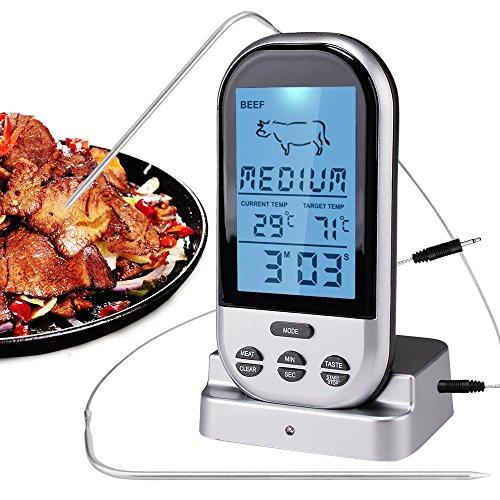 candoran Fernbedienung Kabelloser Digital Küche Kochen Lebensmittel Fleisch Thermometer mit Timer für BBQ Smoker Grill Ofen, Produktreihe 300Feet