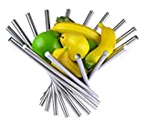 Landtom® Creative Stainless Steel Rotation Fruit Bowl/Fruit Basket/Fruit Stand/Fruit Holder with Free Orange Peeler, Silver