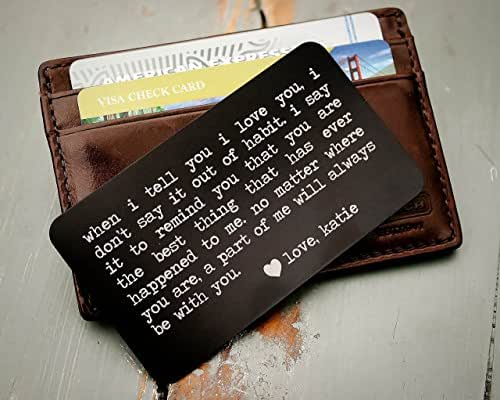 Custom engraved wallet insert personalized for Gift card ideas for guys