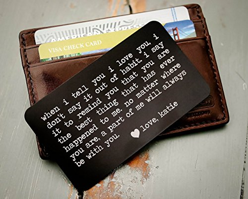 Engraved Card (Custom Engraved Wallet Insert, Personalized Wallet Card, Mini Love Note, Metal Wallet Card - Anniversary, Valentine's Day, Father's Day, Groom's Gift For Him)