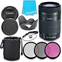 Canon EF-S 55-250mm f/4.0-5.6 IS II STM Lens with Grace Photo Accessories Kit At A Glance Review Image