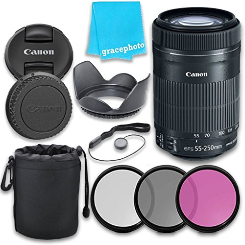 Canon EF-S 55-250mm f/4.0-5.6 IS II STM Lens with Grace Photo Accessories Kit