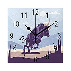 FUWANK Square Wall Clock Battery Operated Quartz Analog Quiet Desk 8 Inch Clock, Doodle Illustration of Strong Bull in Wild Nature