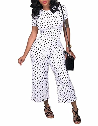 Adogirl Women Sexy Polka Dot Short Sleeve Club Wide Leg Capri Jumpsuits Rompers White S
