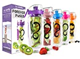 Live Infinitely 32 oz. Infuser Water Bottles - Featuring a Full Length Infusion Rod, Flip Top Lid, Dual Hand Grips & Recipe Ebook Gift (Purple, 32 oz)
