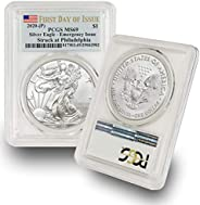 2020 Philadelphia Mint (P) Silver American Eagle MS-69 (First Day of Issue - Emergency Production) Flag Label
