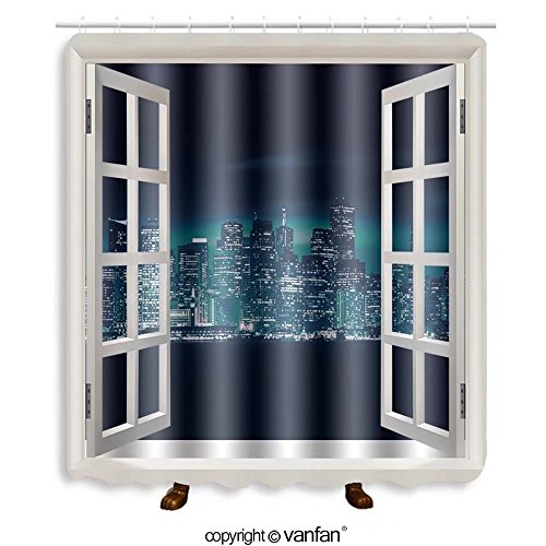Vanfan designed Windows an Francisco Blue Skyline Photo Concept. San Francisco Citys Shower Curtains,Waterproof Mildew-Resistant Fabric Shower Curtain For Bathroom Decoration Decor With Shower - Francisco Stores Premium San Outlets