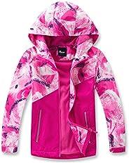 Hiheart Girls Boys Fleece Lined Jacket Waterproof Outdoor Windbreaker