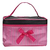 Franterd Woman Hot Fashion Square Bow Stripe Cosmetic Makeup Bag (Hot Pink )