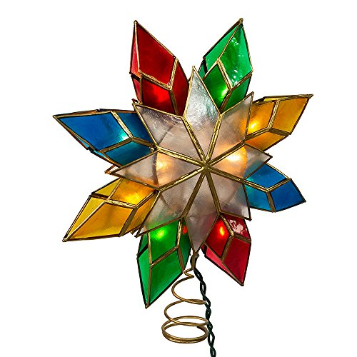 Kurt Adler 10-Light Multi-Color Capiz Star Tree Topper (Light Tree Topper)
