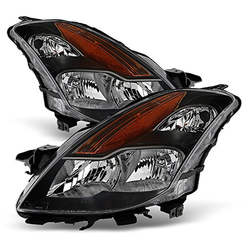 Side Headlight Coupe - VIPMOTOZ For 2008-2009 Nissan Altima Coupe Headlights - Matte Black Housing, Driver and Passenger Side