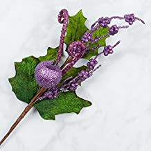 Factory Direct Craft Artificial Fruit and Berry Picks in Purple Glitter for Holiday and Home Decor - 4 Picks