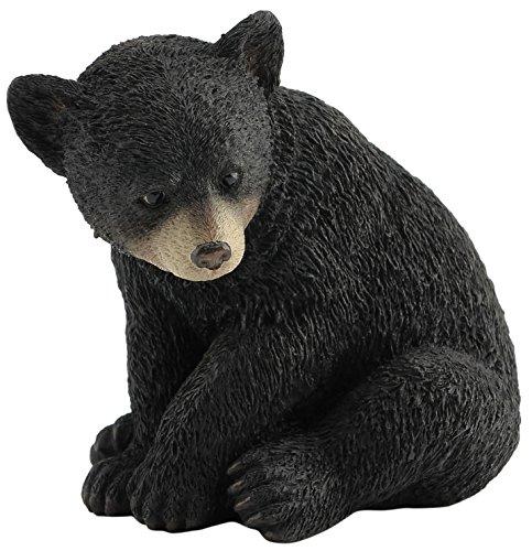 4.25 Inch Bear Cub Sitting Decorative Statue Figurine, Black -
