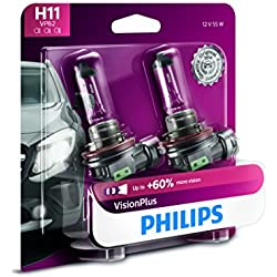 Philips H11 VisionPlus Upgrade Headlight Bulb with up to 60% More Vision, 2 Pack