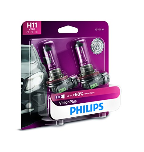 North Original Plus Glove - Philips H11 VisionPlus Upgrade Headlight Bulb, 2 Pack