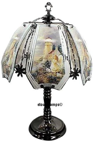 Angel & Lighthouse Touch Lamp with Pewter Base - Pewter Touch Lamp