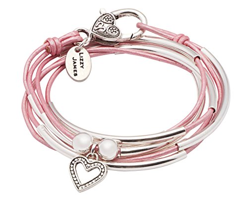 Girlfriend Wrap Silverplated 2 Strand Metallic Pink Leather Wrap Bracelet with Dotted Heart Charm (Medium) -