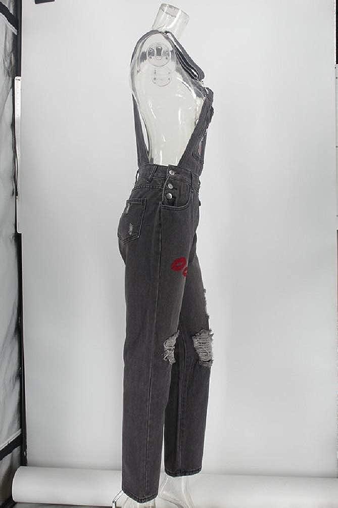 estilo vintage Mono vaquero para mujer leng/üeta de labios rojos larga talla Plus fpengfashion informal
