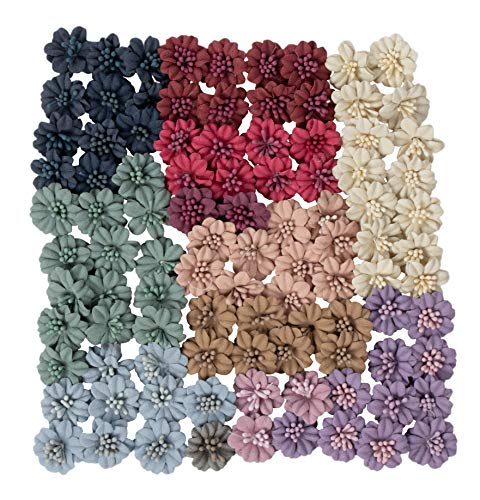 Decorative Craft Flowers - 100-Pack Flower Embellishment, Applique, Table Scatter, Artificial Flower Head for Scrapbooking, DIY, Wedding Party Decoration, Assorted Light Colors, 1 x 1 x 0.4 Inches - Hen House Designs