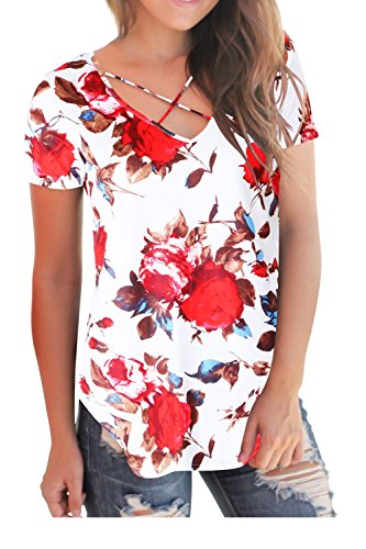 Womens Floral Print Short Sleeve V Neck T Shirts Criss Cross Tops(Red Floral XL) (Shirts Flower Red)