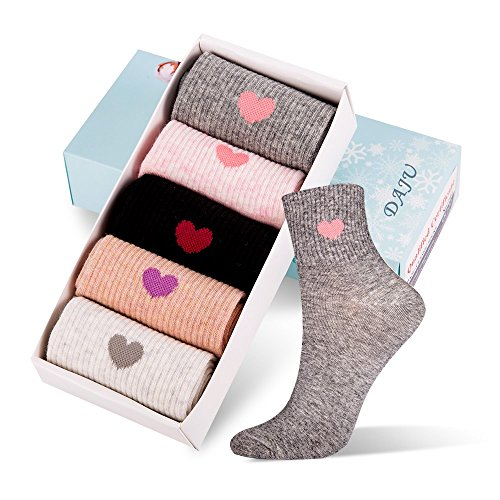 DAJU 5 Pairs Women's Crew Socks Colorful Cotton Casual Socks(within Gift BOX)-Loved hear ()