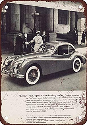 Bruyu5se Metal Sign, Tin Sign, 1956 Jaguar XK140 Hardtop Coupe Vintage Look Reproduction Metal Tin Sign 12X18 Inches