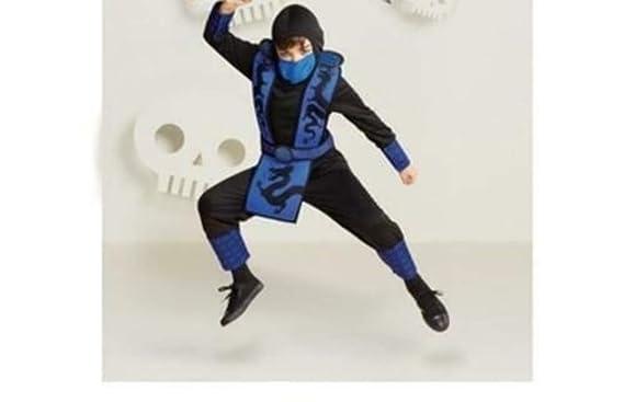 Amazon.com: Kids Boys Small 4-7 Blue Ninja Dragon Costume ...