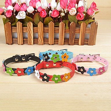 Feng retractable PU leather collar with flowers pattern for pets dogs (Assorted colors)