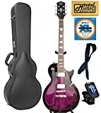 Oscar Schmidt OE20FTPB 6-String Solid-Body Electric Guitar - Trans Purple,Hard Case Bundle