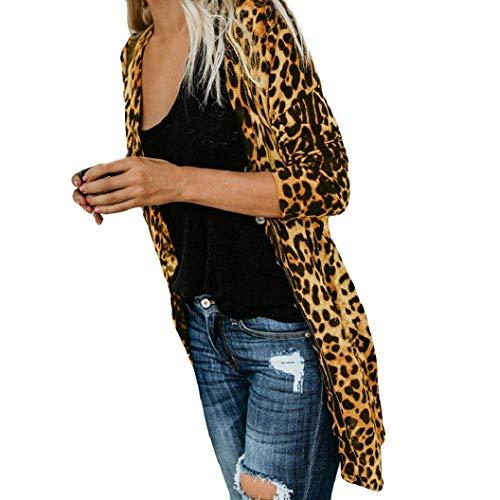 De T Longues Veste Femmes Léopard À shirt Mode Outwear La Jaune Bllouse Manteau Débardeurs Impression Chic Manches Keerads 6qn0ff