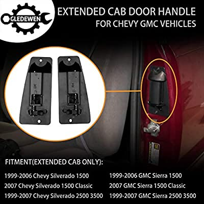 Extended Cab Door Handle Rear Left Driver and Right Passgenger Side | for 1999-2007 Chevy Silverado GMC Sierra 1500 2500 3500 | Replaces# 15758171, 15758172: Automotive