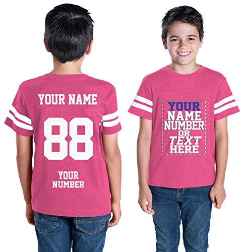 Custom Cotton Jerseys for Youth and Teens - Make Your OWN Jersey T Shirts - Personalized Team Uniforms for Casual Outfit Hot Pink