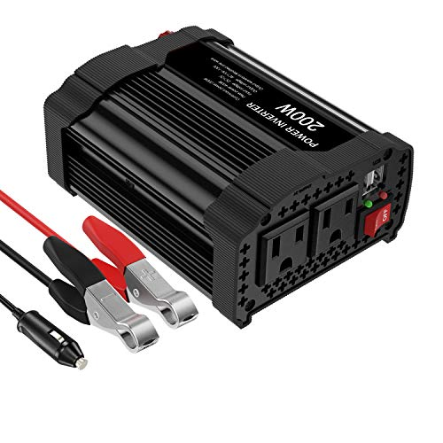 (MoKo 200W Car Power Inverter, [2 AC Outlets + 2 USB Ports] DC 12V to 110V AC Converter Adapter, with 3.1A Dual USB Ports Battery Charger for iPhone X/8/8 Plus, Laptop, Tablet, Camera, etc. - Black)