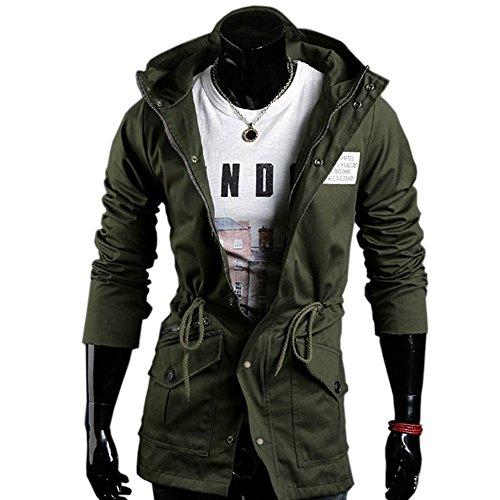 Men's Winter Coat Slim Fit Thick Military Rider Jacket Coat Amry Green-J03