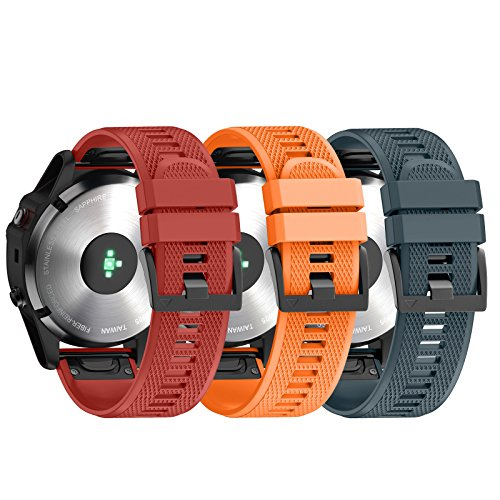 ANCOOL Compatible Garmin Fenix 5 Band Easy Fit 22mm Width Soft Silicone Watch Strap Compatible Garmin Fenix 5/Fenix 5 Plus/Forerunner 935/Approach S60/Quatix 5 - Pack of 3