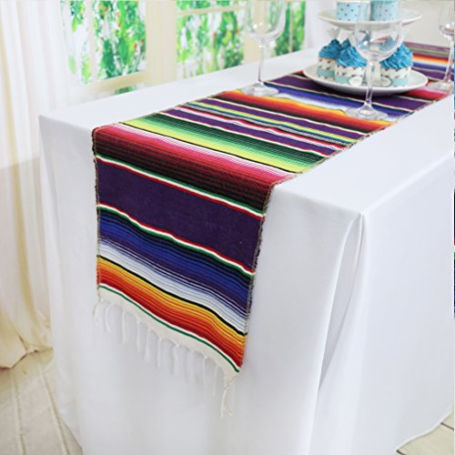 Koyal Pack of 6 14 x 84 inch Mexican Serape Table Runner for Mexican Party Wedding Decorations Fringe Cotton Table Runner by Koyal (Image #1)
