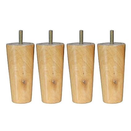 Desconocido 4pcs Sillas de Gran Tamaño Patas de Sofá Silla Tabla Mesa Eucalipto Maciza Forma de Cono Muebles Madera - Natural, 4 * 6 * 12cm