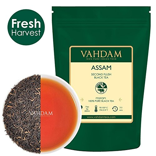 Assam Tea - VAHDAM,Assam Black Tea Leaves (200 Cups), Black Tea Loose Leaf, FTGFOP1 Long Leaf,Rich & Malty, 100% Certified Pure Unblended Assam Tea Loose Leaf, Prime Season Harvest, Packed in India,16-ounce Bag