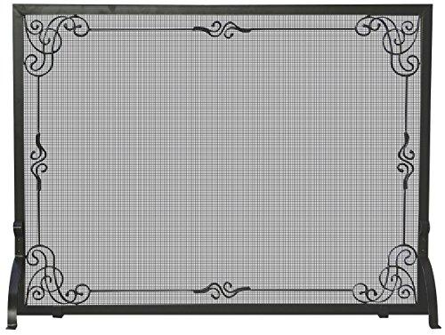 UniFlame Single Panel Black Wrought Iron Screen with Decorative Scroll - Decorative Scroll Screen