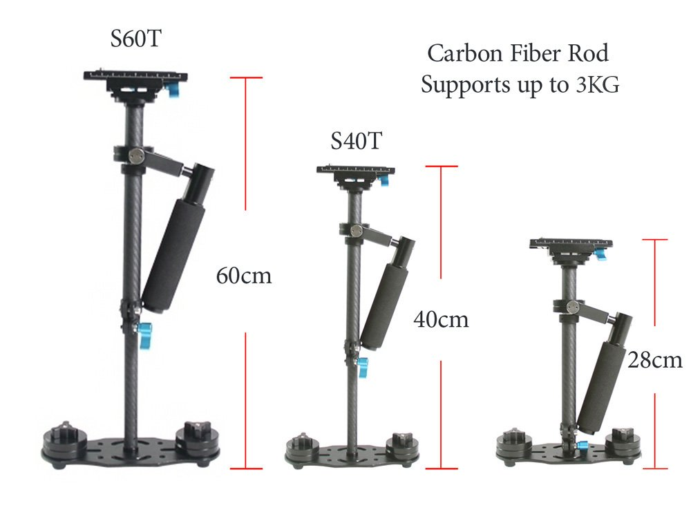 Lightdow S40T Carbon Fiber Rod Handheld Stabilizer Pro Version for Camera Video DV DSLR Nikon Canon, Sony, Panasonic, Pentax etc DHL Shipping