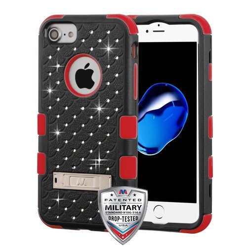 iPhone 6/6s/7 Case, Mybat Full Star 3 PC/TPU Rubber Case Cover with Diamond for Apple iPhone 6/6s/7, Black/Red