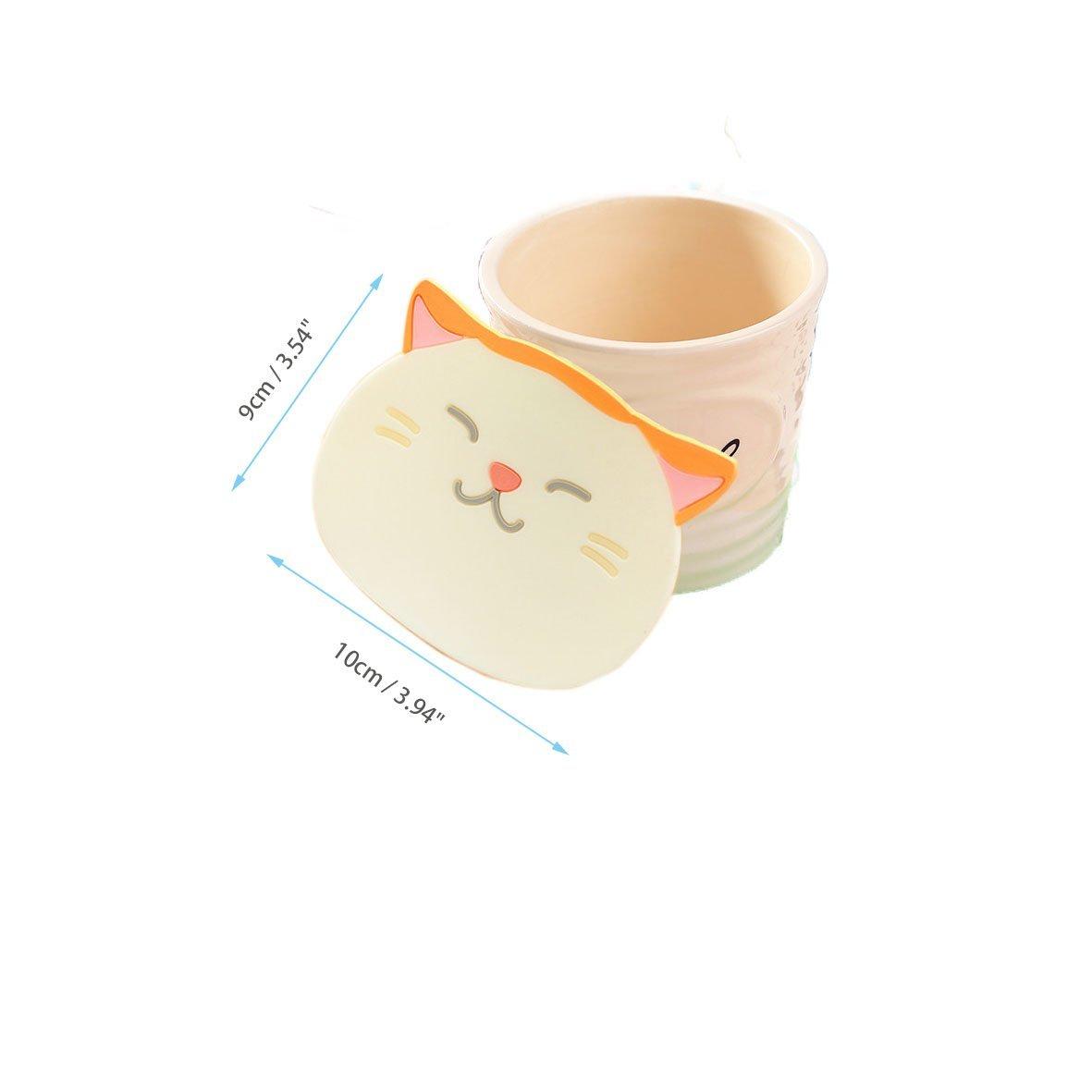Vino Articoli da Cucina Chic Antiscivolo In Silicone Bevande e T/è ZENKO SHOP 6 Pezzi Sottotazze e Sottobicchierea Forma di Carini Gatti per Caff/è