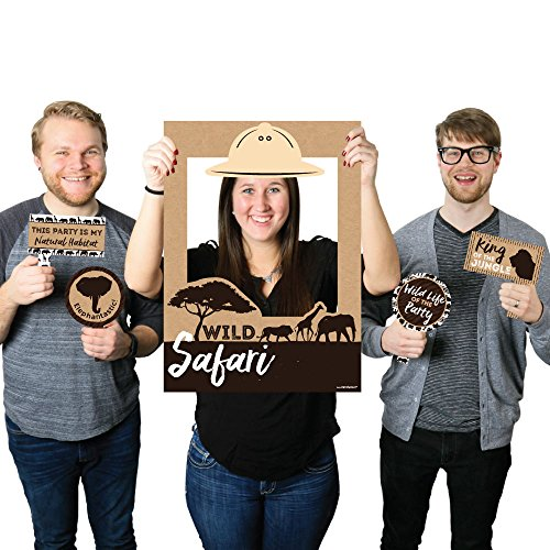 (Big Dot of Happiness Wild Safari - African Jungle Adventure Birthday Party or Baby Shower Selfie Photo Booth Picture Frame & Props - Printed on Sturdy Material)