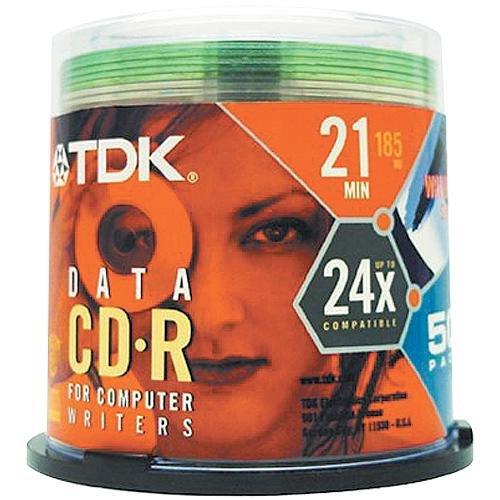 50-pack 21min Data 24x Compatible Cakebox TDK Media CD-R21GXCB50