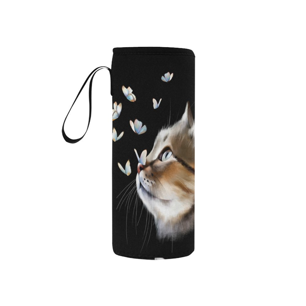 InterestPrint Cat Head Butterfly Neoprene Water Bottle Sleeve Insulated Holder Bag 7.04oz-12.67oz, Cute Kitten Animal Sport Outdoor Protable Cooler Carrier Case Pouch Cover with Handle