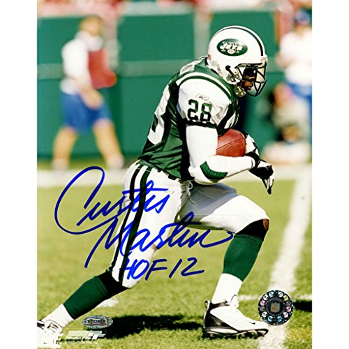 Curtis Martin Jets Signed Side View Running 8x10 Photo w/HOF 12 - Jets Steiner
