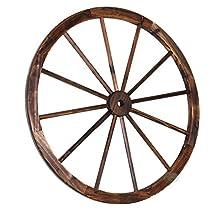 Vintique Wood Decorative Antique Brown Wagon Garden Wheel, 35-Inch